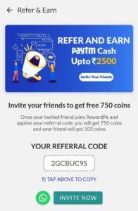 RewardPe Refer and Earn Offer 02