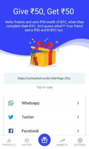 Coinswitch Refer and Earn 13