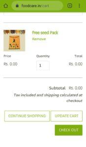 Food Care India Free Seeds Sample Pack